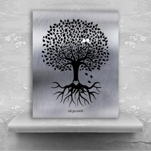 10th Anniversary Personalized Ten Year Tin Wedding Tree Shiny Tinniversary Gift For Couple Custom Art Print #1372