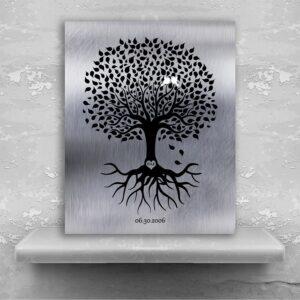 10th Anniversary Personalized Ten Year Tin Wedding Tree Shiny Tinniversary Gift For Couple Custom Art Print #1372
