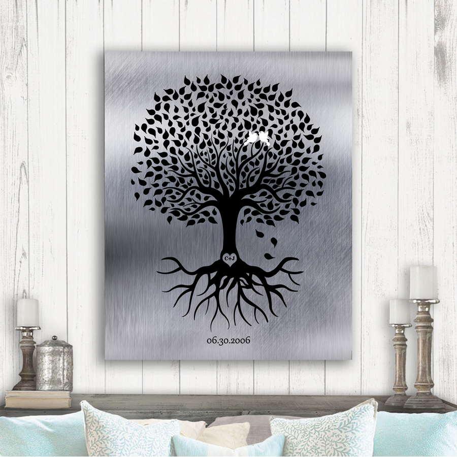 10th Anniversary Personalized Ten Year Tin Wedding Tree Shiny Tinniversary Gift For Couple Custom Art Print 1372 Lucky Tusk Art
