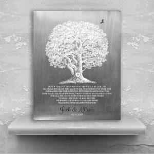 Large Oak Tree Faux Aged Tin Background I Knew The Day I Met Him Thank You Gift For Parents of Groom Custom Art Print #1406