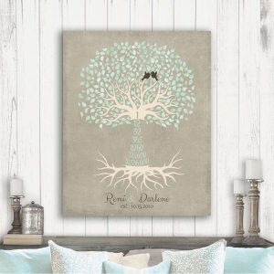 1st Year Wedding Anniversary Traditional First Paper Canvas Countdown Days Weeks Hours Tree Gift For Couple Custom Art Print Plaque #1430