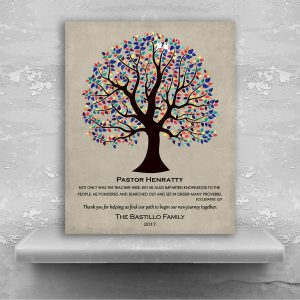 Personalized Gift For Pastor Wedding Thank You Easter Gift Multi-Color Tree of Life Custom Art Print Choose Paper Canvas Metal Plaque 1457