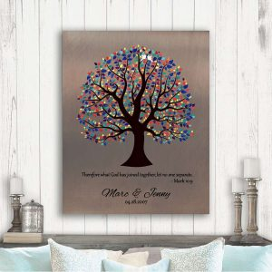 9 Year Anniversary Gift Bible Verses Let No One Separate Mark 10:9 Faux Bronze Colorful Tree #1465