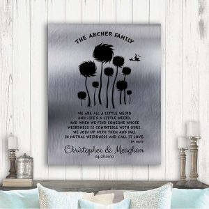 10 Year Anniversary Gift Dr. Seuss Personalized Truffula Trees We Are All A Little Weird Quote Custom Print Paper Canvas Tin Metal 1469