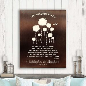 8 Year Anniversary Gift Dr. Seuss Personalized Truffula Trees A Little Weird Quote Faux Bronze Brass Custom Print Paper Canvas Metal 1471