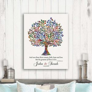 Any Anniversary Gift For Couple Watercolor Tree Corinthians 13:13 And Now These Three Remain #1493