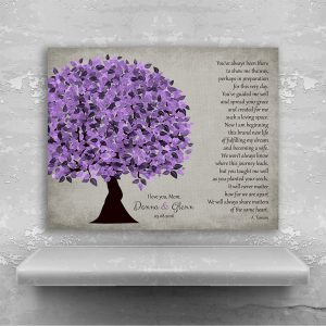 Personalized Gift — For Mom From Daughter To Mother From Bride on Wedding Day Poem Gift Thank You Gift For Mum Purple Tree #1500