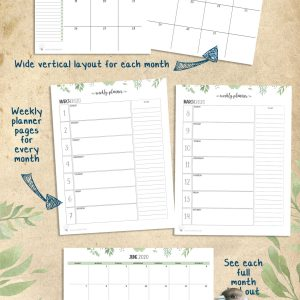 Instant Download – Greenery Design Weekly Calendar Pages