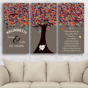3 Piece Canvas Set | 10 Year Anniversary Gift | Winter Birch Tree Forest | Cotton Anniversary Gift | Initials in Tree | Carved Heart | Custom Art #1802