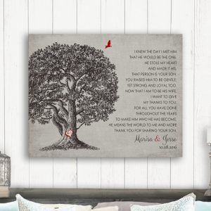 Mother of Groom Gift Large Oak Tree I Knew The Day I Met Him Thank You Gift From Bride Custom Art Print 1405