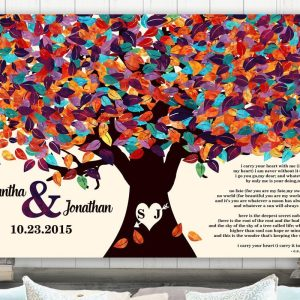 2 Piece Set | 10 Year Anniversary | Tinniversary Gift | Colorful Spring Tree | Love Poem | EE Cummings | Carry Your Heart | Custom Art #1194