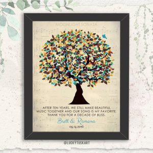 Ten Year Wedding Tree Sheet Music Personalized Gift For Wife Husband Couple Anniversary Poem Custom Art Print #1339