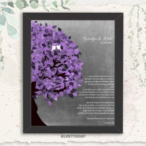 Personalized 10 Year Anniversary Gift EE Cummings I Carry Your Heart With Me Poem Purple Tree Custom Art Print Paper Canvas or Tin Sign 1483