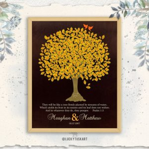 They Will Be Like A Tree Firmly Planted Psalm 1:3 Anniversary Gift For Couple 10 Year Custom Art Print 1411