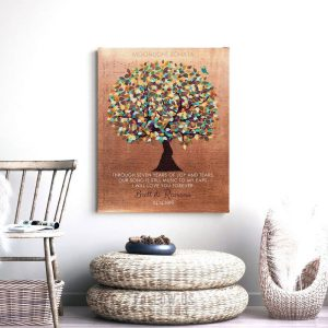 Personalized 7 Year Anniversary Faux Copper Sheet Music Wedding Tree Poem Gift For Couple Custom Art Print #1336