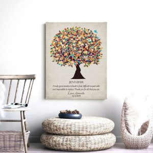 Personalized Graduation Gift For Coworker Teacher Professor Boss Mentor Watercolor Tree Custom Art Print #1319