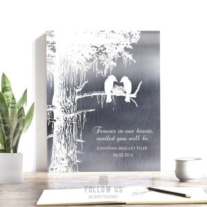 Memorial Plaque Loss of Baby Child Stillborn Nestled in Our Hearts Personalized Sympathy Gift of Condolence #1353