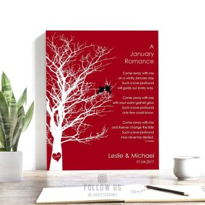 January Romance Love Poem Personalized Engagement Anniversary Gift For Wife Garnet Wedding Day Gift For Husband  #1701