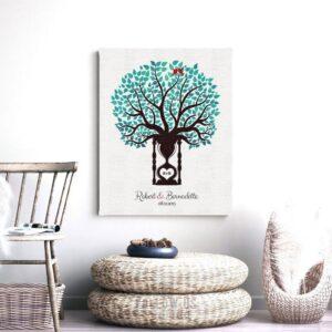 1st Year Anniversary Traditional Paper Clock Hourglass Wedding Anniversary Personalized Gift Custom Art Print #1387