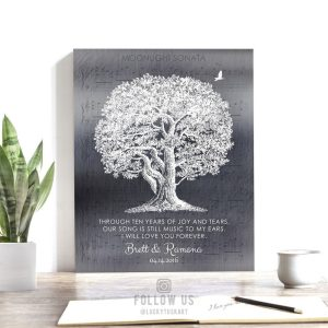 Personalized 10th Ten Year Anniversary Poem Oak Tree on Shiny Tin Background Custom Art Print #1337