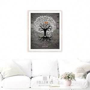 6th Year Anniversary Personalized Family Wedding Tree Faux Iron Background Gift For Couple Custom Art Print #1373