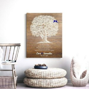 5 Year Wedding Anniversary Personalized Family Wedding Tree Gift Faux Wood Gift For Couple Custom Art Print #1369