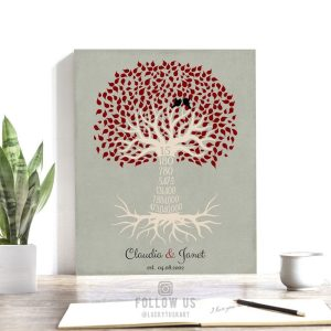 15th Year Fifteenth Anniversary Date Sign Gift Personalized Family Countdown Family Tree Roots Custom Print Metal Canvas Paper Plaque 1445