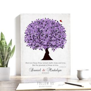 Purple Wedding Tree Personalized 10 Year Anniversary Gift Corinthians 13:13 Vintage 13th Wedding Tree Custom Canvas Paper Metal Print 1476