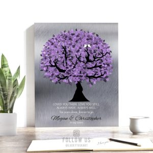 10 Year Anniversary Corinthians Loved You Then Purple Silver Personalized 25th Wedding Gift of Tin Tree Custom Canvas Paper Metal Print 1480