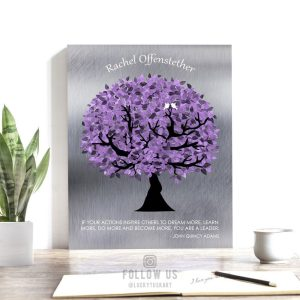 Personalized Gift For Boss Gift For Mentor Teacher Gift Silver Purple John Quincy Adams Quote Custom Tree Print on Paper, Canvas, Metal 1488