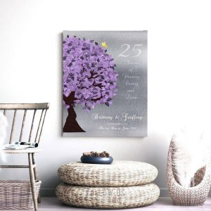 25 Year Anniversary Personalized Gift Silver Anniversary Gift of Tin Purple Tree Custom Art Print Paper Canvas or Tin Sign 1489