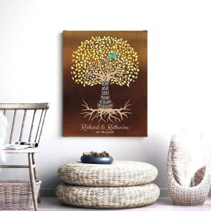 9 Year Anniversary Personalized Gift For Couple 9th Year Countdown Family Tree Faux Dark Bronze Custom Print Metal, Canvas, Paper Art 1438