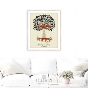 12 Year Traditional Wedding Anniversary Date Gift Personalized Countdown Tree Oyster White Color Custom Print Metal Canvas Paper Plaque 1442