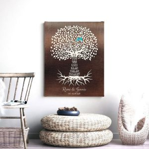 19th Year Nineteenth Anniversary Gift Date Faux Bronze Personalized Family Countdown Tree Roots Custom Print Metal Canvas Paper Plaque 1449