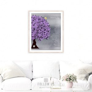 10 Year Anniversary Tree Background Purple Silver Personalized 25th Silver Corinthians Love is Patient Custom Canvas Paper Metal Print 1474