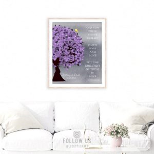 10 Year Anniversary Corinthians 13:13 Background Purple Silver Personalized Shiny Tin 25th Wedding Tree Custom Canvas Paper Metal Print 1475