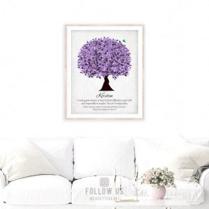 Personalized Gift For Boss Gift For Truly Great Mentor Gift For Teacher Purple Watercolor Tree Custom Art Print Paper, Canvas or Metal 1477