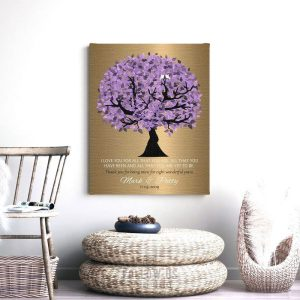 8 Year Anniversary Personalized Wedding Tree Gift Faux Bronze Purple Watercolor Gift For 8th Year Custom Art Print Paper Canvas Metal #1481