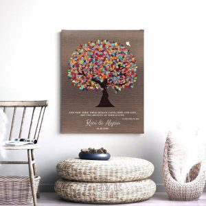 Personalized Anniversary Faux Bronze Spring Tree Colorful Leaves Corinthians 13 Gift For Couple Custom Art Print #1393