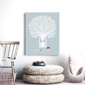 First Anniversary Traditional Paper Clocks Gift Blue White Hourglass Tree Gift For Couple Custom Art Print #1389