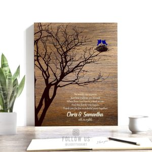 5th Anniversary Personalized Family Wedding Tree Gift Faux Wood Sapphire Gift For Couple Custom Art Print #1368