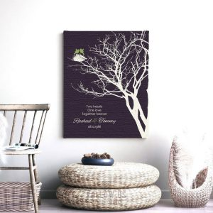 1st Year Anniversary Peridot Personalized Family Wedding Tree Gift For Her Gift For Couple Custom Art Print #1364