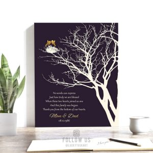 50th Golden Anniversary Personalized Family Wedding Tree Gift For Mom and Dad Gift For Couple Custom Art Print #1363