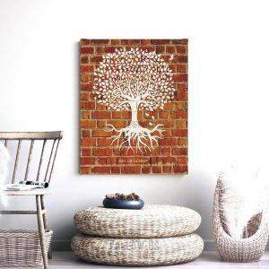 Eight Year Anniversary Personalized Minimalist Family Tree Roots Faux Brick Gift For Couple Custom Art Print #1382