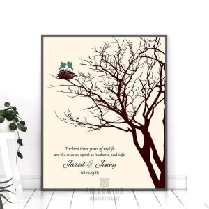 3rd Year Anniversary Personalized Family Wedding Tree Gift Jade Love Poem Gift For Couple Custom Art Print #1366