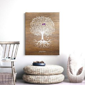 6th Anniversary Personalized Wedding Tree Faux Wood Minimalist Tree Roots Gift For Couple Custom Art Print #1370