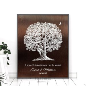 10 Year Anniversary Gift Aluminum Tin Faux Bronze Oak Tree Luckiest Personalized Gift For Him Custom Art Print #1394