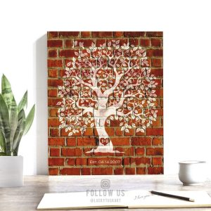 8th Anniversary Personalized Gift For Couple Family Tree Faux Brick Pottery Clay Background Custom Art Print #1384