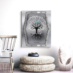 11th Anniversary Personalized Wedding Tree Faux Steel Background Turquoise Gift For Couple Custom Art Print #1374