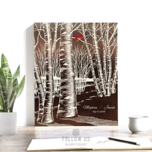 Winter Romance Wedding Bare Birch Tree Forest Faux Copper 10 Year Anniversary Gift For Wife Custom Art Print 1400